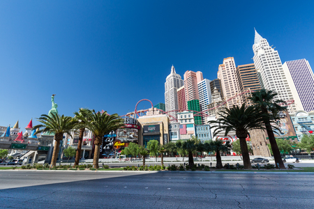 new york strip: LAS VEGAS, NEVADA - SEPTEMBER 9: Exterior views of the New York, New York Casino on the Las Vegas Strip on September 9, 2015. The New York, New York is a famous and popular luxury casino in Vegas.