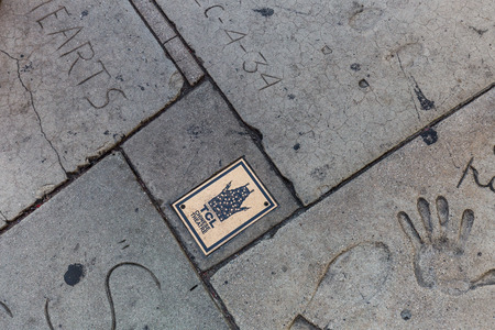 Hollywood boulevard: HOLLYWOOD, LOS ANGELES - SEPTEMBER 11: Views of the Walk of Fame and the Buildings at the Hollywood Boulevard on September 11, 2015. This street is an icon for the Movie industry in Hollywood.
