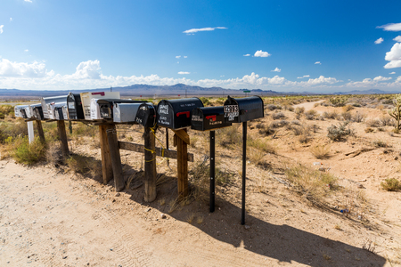 GOLDEN VALLEY, ARIZONA - SEPTEMBER 6: Views of mail boxes along the highway 93 on September 6, 2015. Mail boxes are popular photographic motives by tourist from foreign countries. Editorial