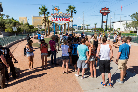 las vegas metropolitan area: LAS VEGAS, NEVADA - SEPTEMBER 8: Views of the Welcome to Fabolous Vegas sign at the main boulevard on September 8, 2015. This sign is popular by tourist for taking pictures.
