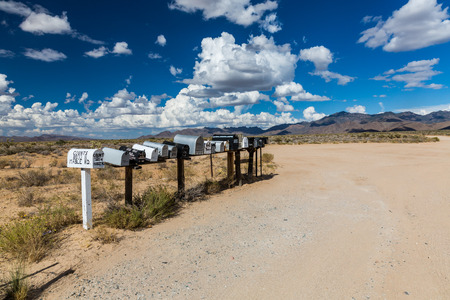 highway 6: GOLDEN VALLEY, ARIZONA - SEPTEMBER 6: Views of mail boxes along the highway 93 on September 6, 2015. Mail boxes are popular photographic motives by tourist from foreign countries. Editorial