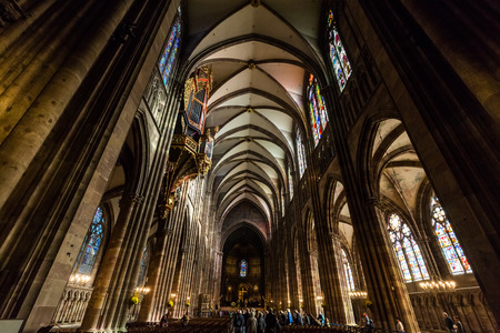 our lady: STRASBOURG, FRANCE - NOVEMBER 5: Interior views of Cathedral of Our Lady in the old town part of Strasbourg on November 5, 2015. Strasbourg is a city in region Alsace in France.