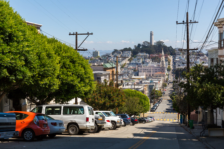 coit tower: SAN FRANCISCO, CALIFORNIA - SEPTEMBER 17: View of the Greenwich Street in direction Coit Tower in San Francisco on September 17, 2015. This view provides a nice view to the streets of San Francisco.