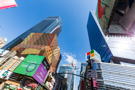 av: NEW YORK - AUGUST 22: View to the 8th Av from W42nd Street in New York on August 22, 2015. Its in the district of West Midtown, New York.
