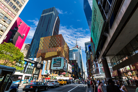 42nd: NEW YORK - AUGUST 22: View to the 8th Av from W42nd Street in New York on August 22, 2015. Its in the district of West Midtown, New York.