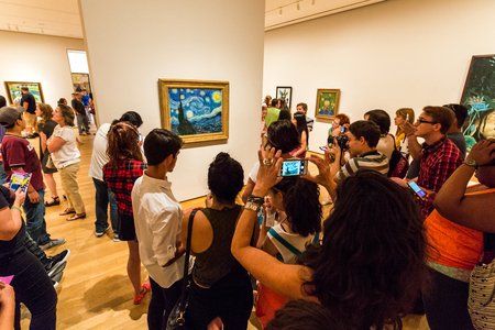 NEW YORK - AUGUST 23: View of the Van Gogh painting in the Museum of modern art in New York on August 23, 2015. This is one of the most popular and famous museums worldwide for modern art.