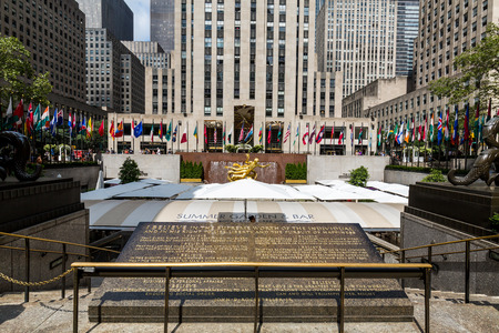 5th: NEW YORK - AUGUST 23: Exterior views of to the Rockefeller center in Midtown Manhattan at the 5th Av on August 23, 2015. Rockefeller Center is a complex of 19 commercial buildings covering 22 acres.