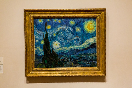 jackson: NEW YORK - AUGUST 23: View of the Van Gogh painting in the Museum of modern art in New York on August 23, 2015. This is one of the most popular and famous museums worldwide for modern art.