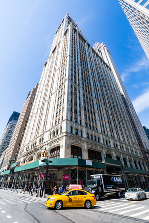 broadway tower: NEW YORK - AUGUST 22: Exterior view to the skyscraper Woolworth Building on August 22, 2015. Its a famous and historic building in New York and it was the world tallest building until 1930.