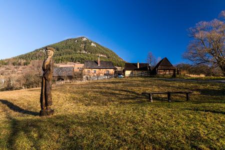 ruzomberok: VLKOLINEC, SLOVAKIA - DECEMBER 24: Views of the village Vlkolinec and its typical heritage houses on December 24, 2015. Vlkolinec is a Unesco protected village near the town Ruzomberok in Slovakia. Editorial