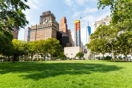 NEW YORK - AUGUST 24: Views of the Battery Park in Manhattan New York on August 24, 2015. In 2015, the NYC Dep. of Parks announced that the park would revert to its historic name, The Battery.