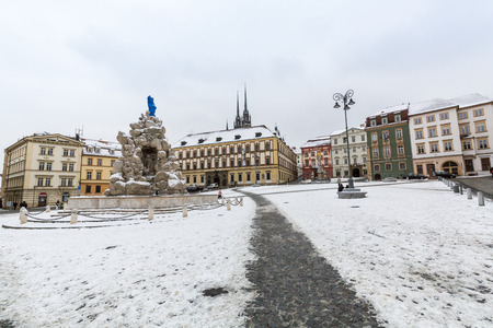watersplash: BRNO, CZECH REPUBLIC - JANUARY 7: Exterior views of famous buildings and landmarks in the city centre of Brno on January 7, 2016. Brno is the second largest town in Czech Republic.