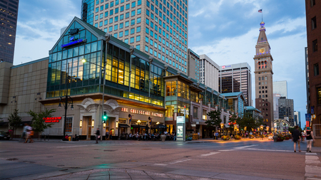 16th street mall: DENVER, COLORADO - AUGUST 25: Views of the main shopping street 16th Street in Denver on August 25, 2015. On this street are free public buses driving and it provides lot of shopping opportunities.
