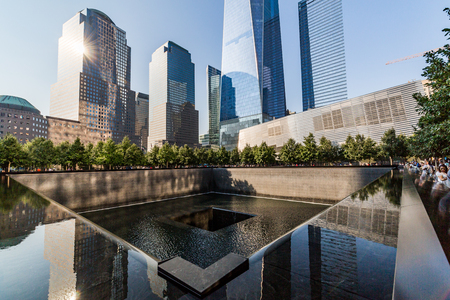NEW YORK - AUGUST 24: Views of the Ground Zero in Manhattan Downtown, New York on August 24, 2015. The Ground Zero is a symbol for the terrorist attacks on September 11, 2001.