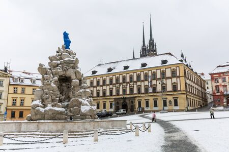 morava: BRNO, CZECH REPUBLIC - JANUARY 7: Exterior views of famous buildings and landmarks in the city centre of Brno on January 7, 2016. Brno is the second largest town in Czech Republic.