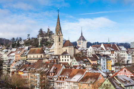 aargau: BADEN, AARGAU, SWITZERLAND - JANUARY 31: Typical view to the city of Baden on January 31, 2015. Baden is a municipality in the Swiss canton of Aargau, located 25 km (16 mi) northwest of Zurich. Editorial