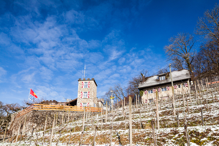 aargau: WETTINGEN, AARGAU, SWITZERLAND - JANUARY 31: Small castle on mountain Lagern in the village of Wettingen in Switzerland on January 31, 2015. The castle has also a restaurant. Editorial