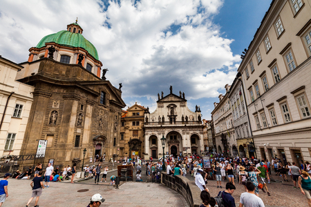 praga: PRAGUE, CZECH REPUBLIC - JULY 18:  Exterior views of famous Salvator Church in of the old town of Prague on July 18, 2015. Prague is the capital and largest city of the Czech Republic.