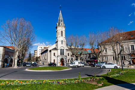 GAP, HAUTES-ALPES, FRANCE - APRIL 7: Exterior views of the city of Gap on April 7, 2015. Its a commune in south-eastern France, the capital and largest settlement of the Hautes-Alpes department.