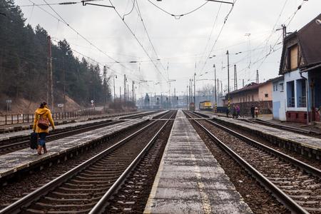 ruzomberok: RUZOMBEROK, SLOVAKIA - FEBRUARY 27: Train is arriving into the railway station of Ruzomberok, Slovakia on February 27, 2015. The railway station of Ruzomberok was opened on December 8, 1871.