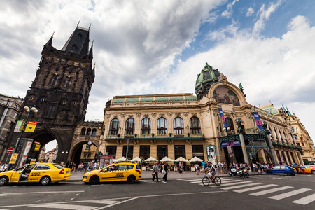 municipal editorial: PRAGUE, CZECH REPUBLIC - JULY 18:  Exterior views of famous Powder Tower in of the old town of Prague on July 18, 2015. Prague is the capital and largest city of the Czech Republic. Editorial