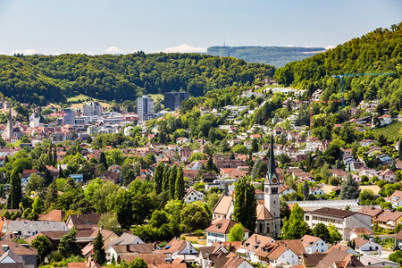 aargau: WETTINGEN, AARGAU, SWITZERLAND - JULY 21: Exterior views of  the St. Sebastian Church of Wettingen on July 21, 2015. Wettingen is a municipality in the Swiss canton of Aargau.