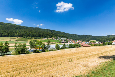 an agricultural district: BOPPELSEN, SWITZERLAND - JULY 24: Views of the small village Boppelsen in the canton of Zurich on July 24, 2015. Its a municipality in the district of Dielsdorf in the canton of Zurich in Switzerland.