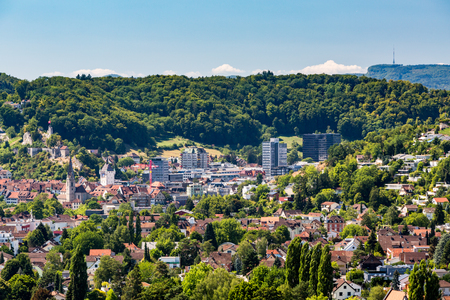 aargau: View from Mountain Lagern to the village of Wettingen at day on July 21, 2015. Wettingen is a municipality in the Swiss canton of Aargau. Editorial