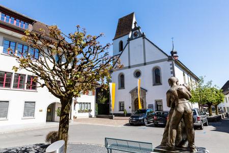 aargau: MELLINGEN, SWITZERLAND - APRIL 19: Exterior views of the old town Mellingen, Switzerland on April 19, 2015. Mellingen is a small village in the canton of Aargau. Editorial