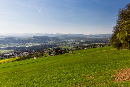 mutschellen: BELLIKON, SWITZERLAND - APRIL 21: Meadow on Mountain Heitersberg with view to the hospital in Bellikon, near Zurich, Switzerland on April 21, 2015.
