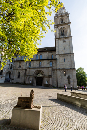 grossmunster cathedral: ZURICH, SWITZERLAND - MAY 17: Exterior views of various houses and churches in the old town part of Zurich on May 17, 2015. Zurich is the biggest city in Switzerland. Editorial