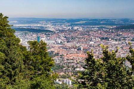 arial: Arial view of Zurich, Switzerland
