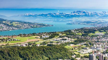 Lake Zurich overlook from Uetliberg Stock Photo