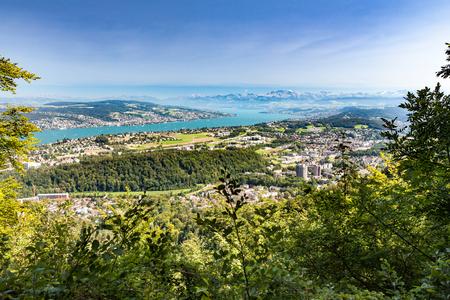 overlook: Lake Zurich overlook from Uetliberg Stock Photo