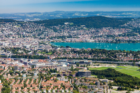 arial views: Zurich and the bay area Switzerland