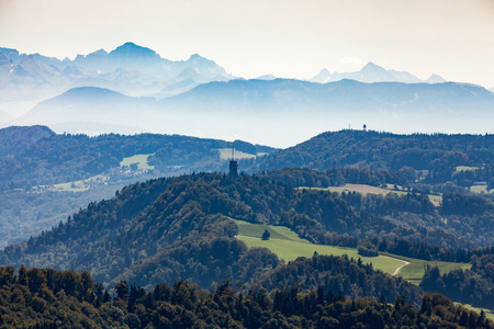 arial views: View from Mountain Uetliberg to Glarner Alps, Switzerland