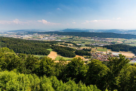 arial views: Views from to Mountain Lagern to Zurich and the villages around, Switzerland July 24, 2015.