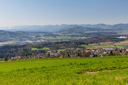 jura: Meadow on Mountain Heitersberg with view to Jura Chain, near Zurich, Switzerland