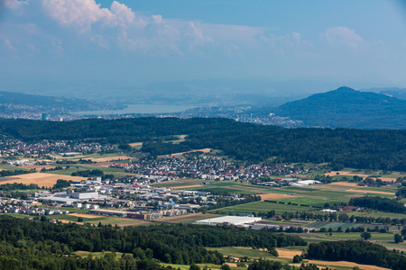 mountainbiking: Views from to Mountain Lagern to Zurich and the villages around, Switzerland July 24, 2015.