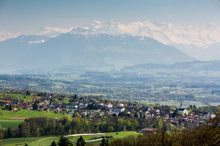mutschellen: View to the Mountain Rigi, near Zurich, Switzerland Stock Photo