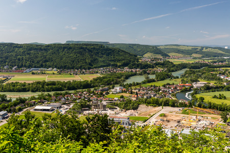 aargau: View to the Water Castle, an area where tree big swiss rivers come together near Brugg, Aargau, Switzerland