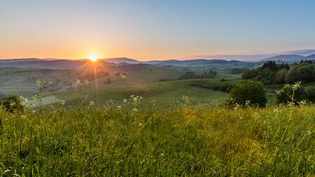 fine print: Views of fields and hills at sunrise near Dolny Kubin in Slovakia in summer 2015