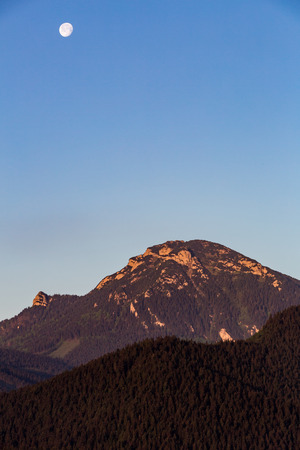 fine print: View of the mountain Choc at sunrise near Dolny Kubin, Slovakia in summer 2015