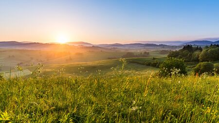 in low spirits: Views of fields and hills at sunrise near Dolny Kubin in Slovakia in summer 2015