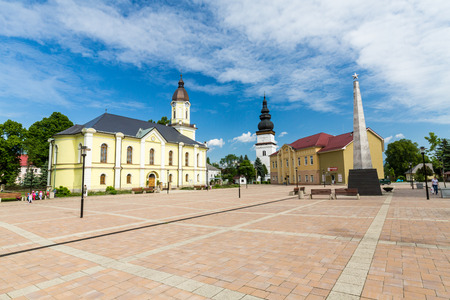slovak republic: PARTIZANSKA LUPCA, SLOVAKIA - JUNE 3, 2015: View of the center of the village Partizanska Lupca and its churches on June 3, 2015. Partizanska Lupca is a small village near Ruzomberok in Slovakia. Editorial