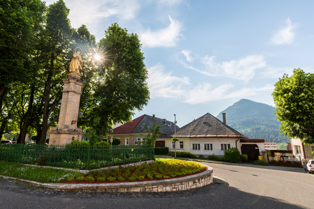 ruzomberok: RUZOMBEROK, SLOVAKIA - June 3, 2015: Views of pedestrian zone of the city of Ruzomberok on June 3, 2015. Ruzomberok is a town in northern Slovakia, in the historical Liptov region.