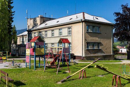 ruzomberok: RUZOMBEROK, SLOVAKIA - JUNE 4, 2015: View to the childrens home in the city of Ruzomberok on June 4, 2015. Ruzomberok is a town in northern Slovakia, in the historical Liptov region. Editorial
