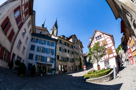 aargau: BADEN, AARGAU, SWITZERLAND - JUNE 30, 2015: Exterior views of the old town part of Baden on June 30, 2015. Baden is a municipality in the Swiss canton of Aargau, located 25 km (16 mi) northwest of Zurich.
