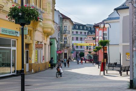 ruzomberok: RUZOMBEROK, SLOVAKIA - JUNE 3, 2015: Views of pedestrian zone of the city of Ruzomberok on June 3, 2015. Ruzomberok is a town in northern Slovakia, in the historical Liptov region. Editorial