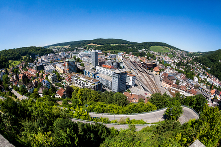 renewed: BADEN, AARGAU, SWITZERLAND - JUNE 30, 2015: View to the new city part of Baden on June 30, 2015. Baden is a municipality in the Swiss canton of Aargau, located 25 km (16 mi) northwest of Zurich.